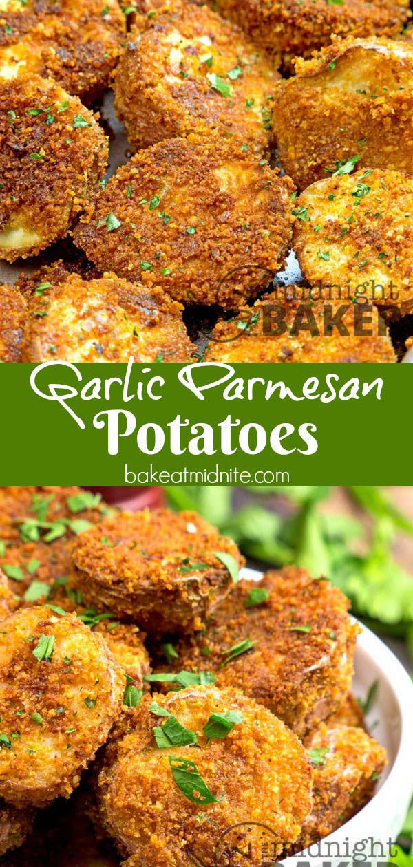 These crunchy and cheesy garlic parmesan potatoes are not only a perfect side dish, but they make a great snack too!