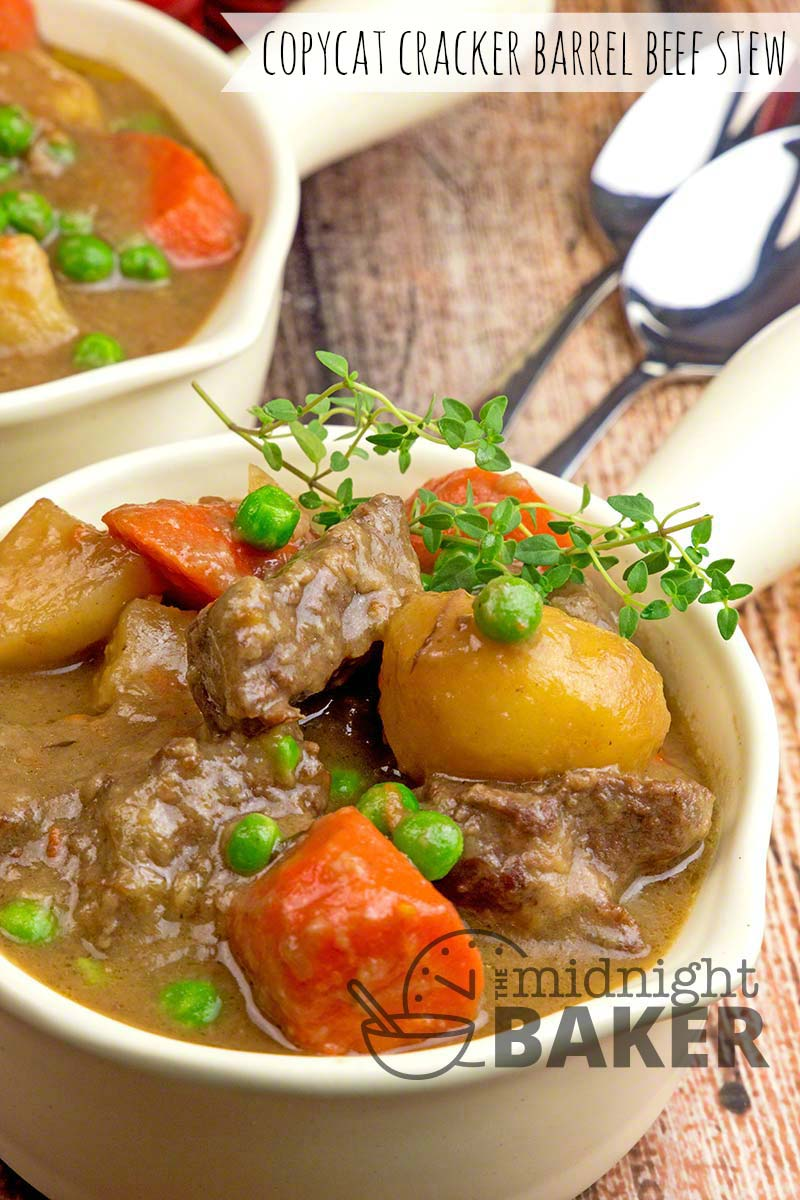 This beef stew is a big dish of comfort. A copycat recipe from the famous Cracker Barrel restaurant.
