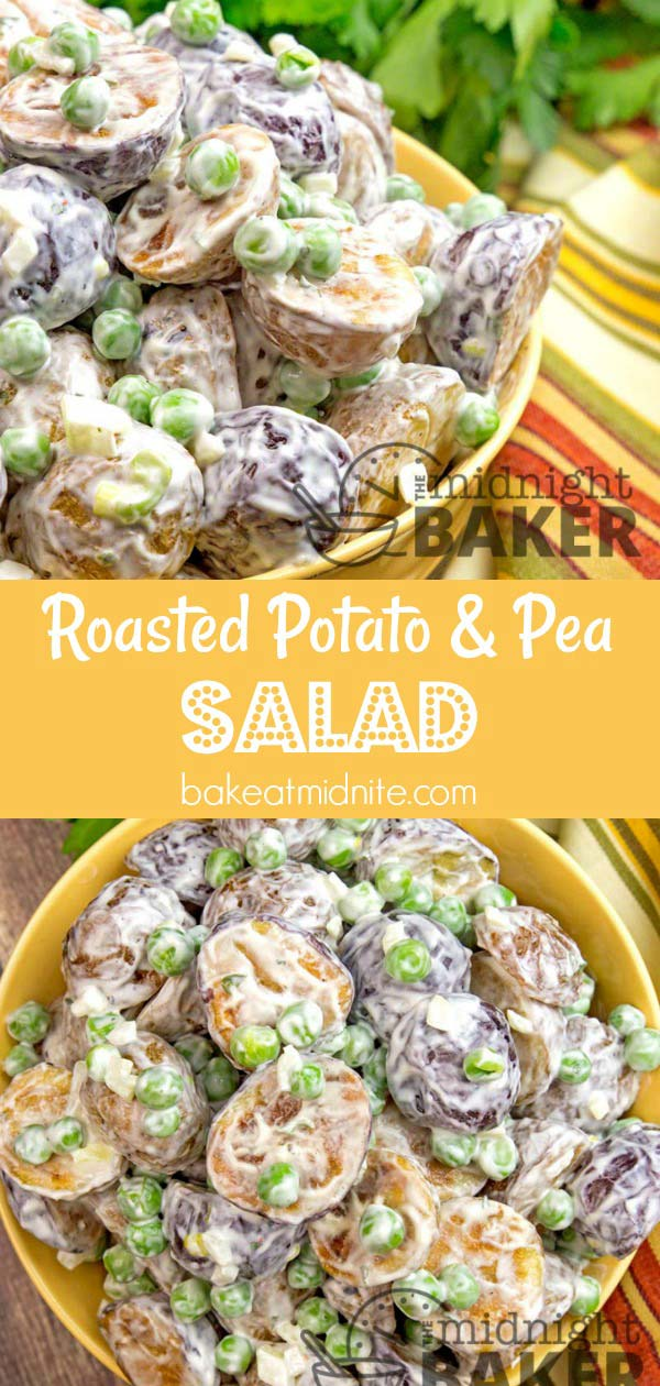 Potato salad tastes so much better when made with roasted potatoes. Peas give it that extra pop of color and sweetness.