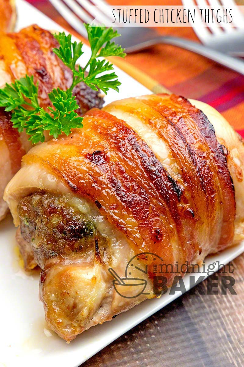Stuffed Chicken Thighs - The Midnight Baker