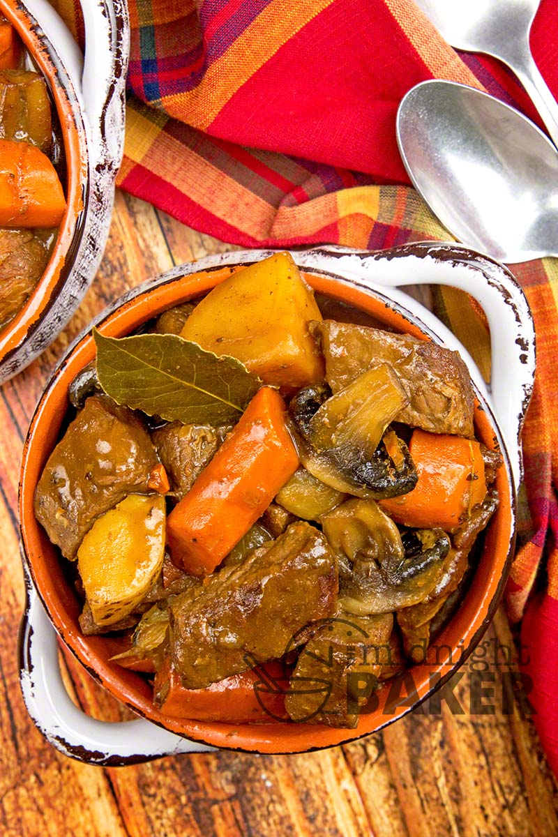 Slow oven roasting is the key to the great flavor of this beef stew.