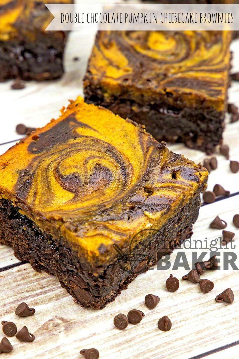 Double Chocolate Pumpkin Cheesecake Brownies