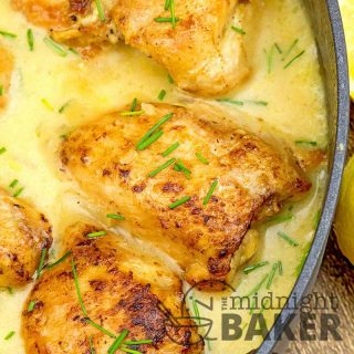 Easy one-pan chicken dinner in a tangy lemon chive sauce.