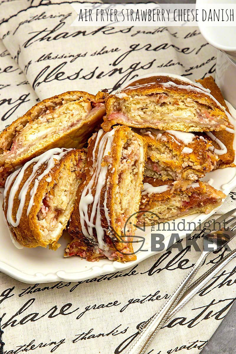 Quick and easy fruit and cheese strip danish made in the air fryer.