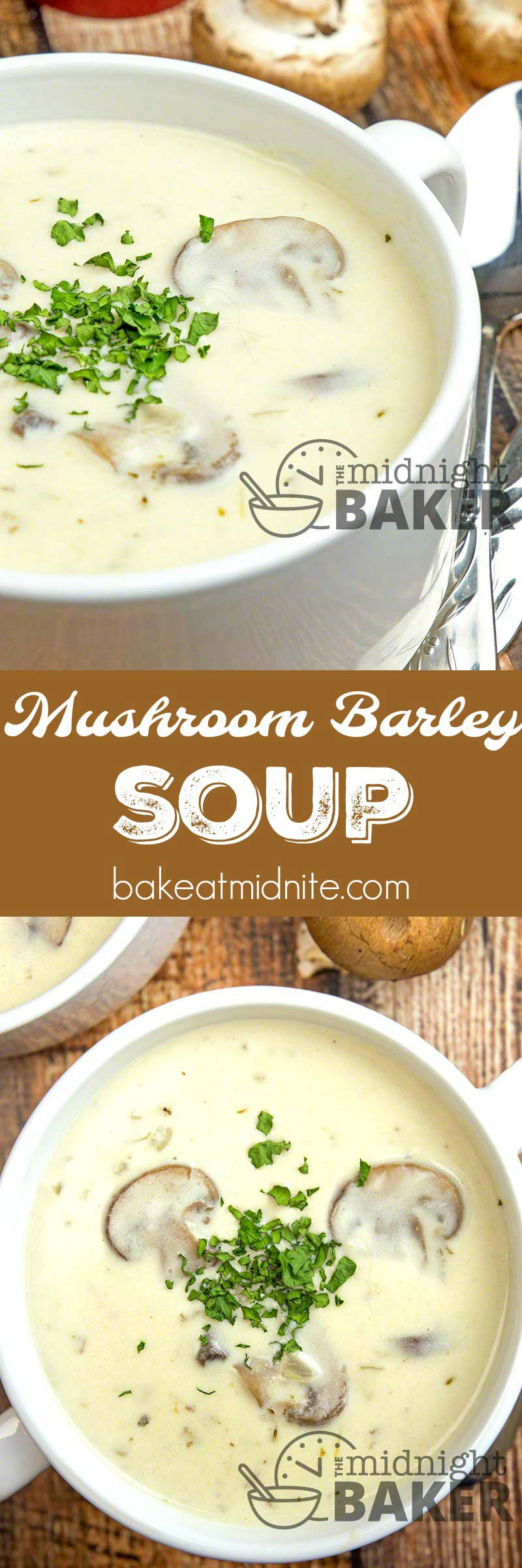 Nothing like a comforting bowl of creamy mushroom barley soup to warm you up on a winter's day.