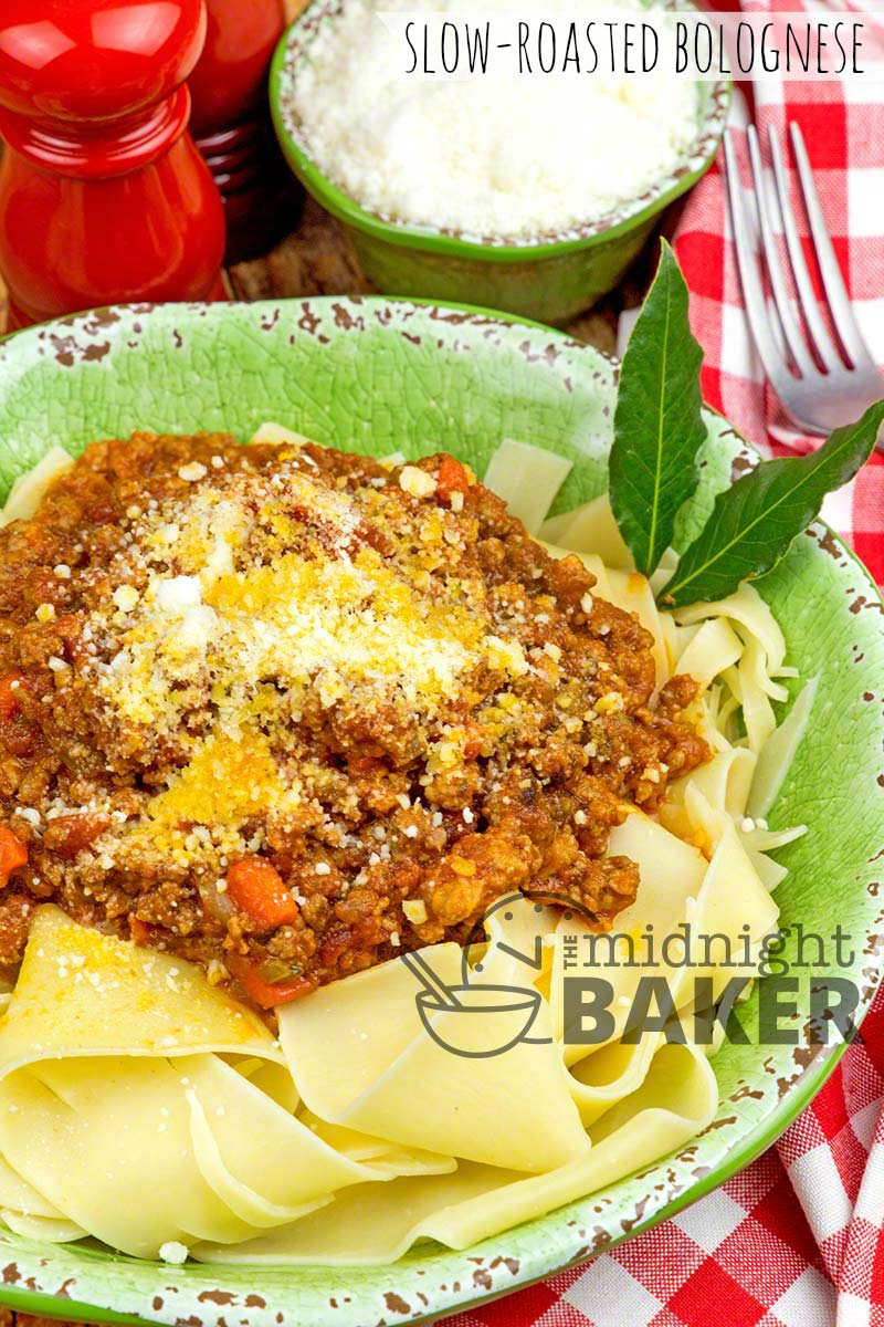 Slow-oven roasting gives this bolognese sauce a superior flavor.