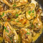 Delicious and quick sauteed chicken in wine sauce with mushrooms