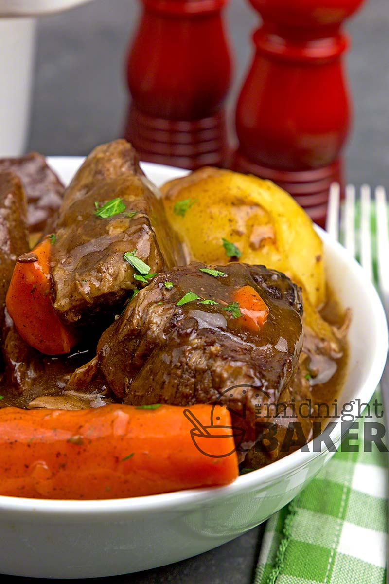 Beef stew made the French way. It's the tastiest stew you'll ever eat.