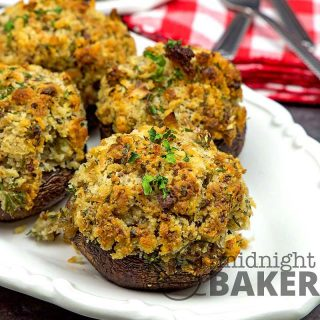 Mushrooms stuffed with a delicate bread mixture that's perfect with poultry