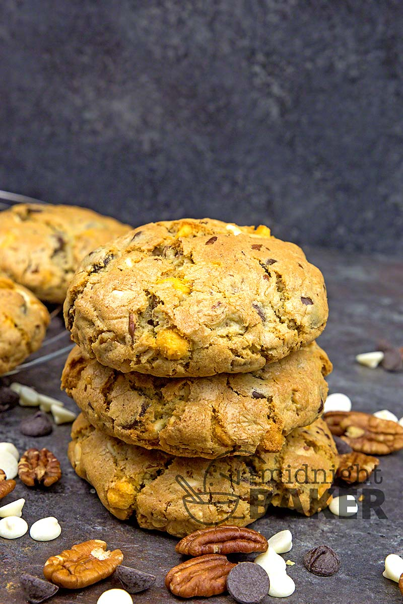 Cookies so huge all you need is one. Loaded with 3 kinds of chocolate.