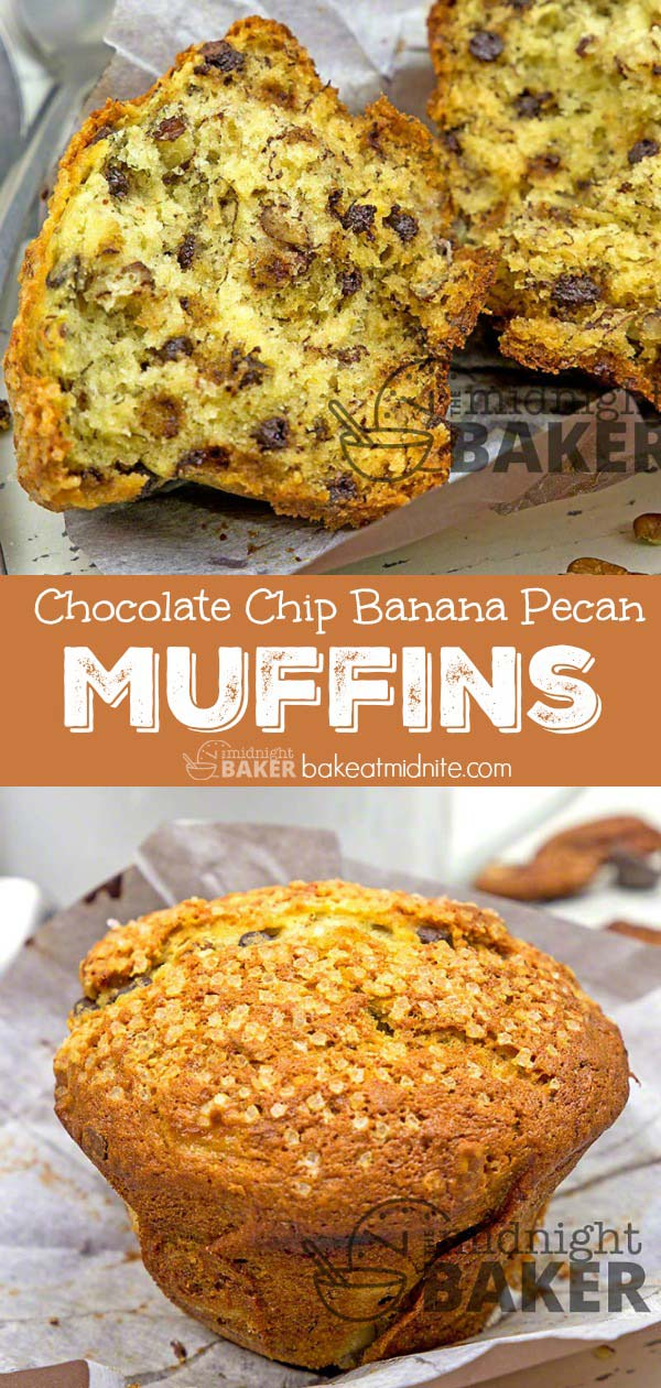 Dress up ordinary banana muffins with chocolate and pecans. Delicious!