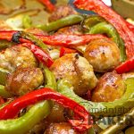 Popular sausage and peppers goes sheet pan easy.