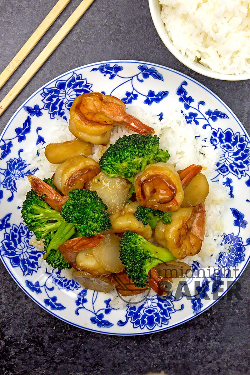 These delicious honey shrimp pair well with broccoli and sliced water chestnuts. Quick and easy too.