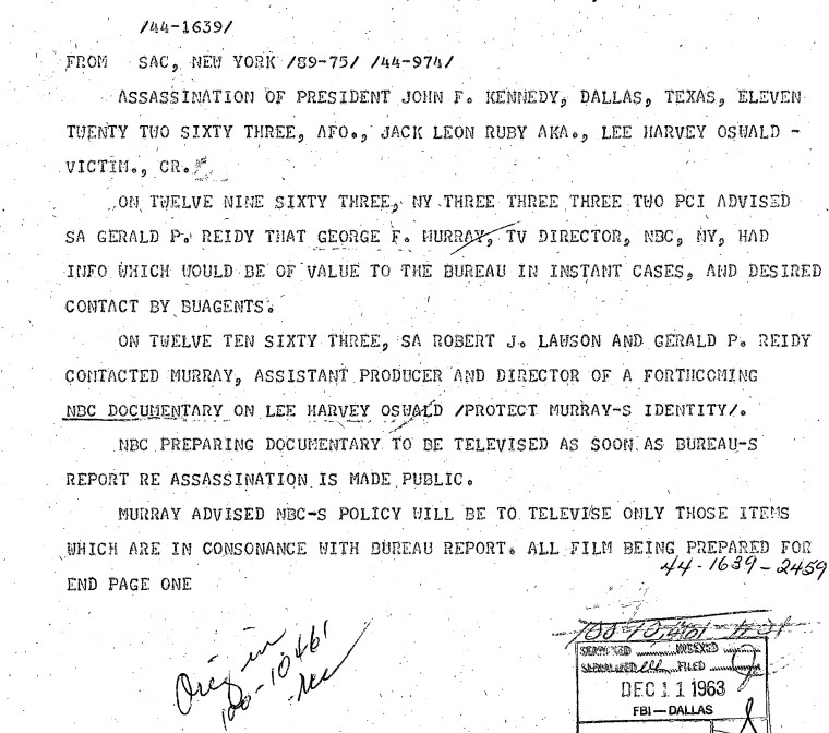 nbc colluding cover up of JFK assassination