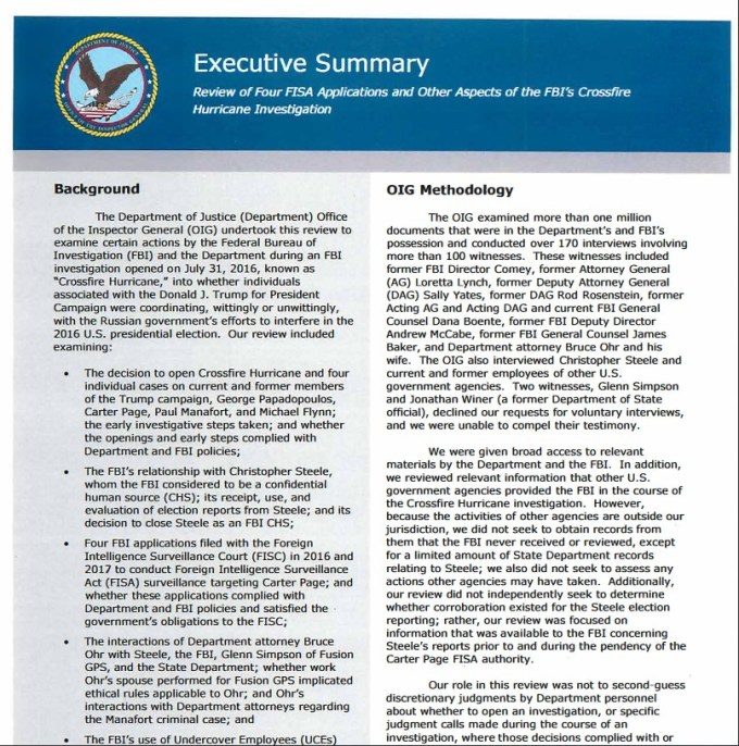 Four-FISA-Applications Inspector General's Report