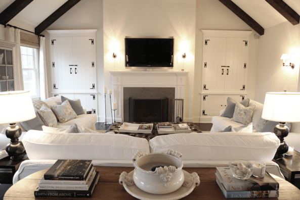 Suzie: via COTE DE TEXAS  Classic, elegant living room with cathedral ceiling, espresso stained ...