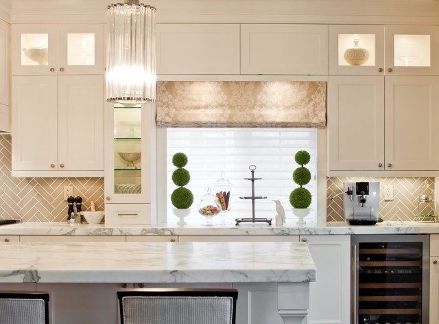 "kitchens - Benjamin Moore - Cloud White - Statuario Marble Countertops Robert Abbey Polished Nickel Glass Rod 22"" High Pendant Mutina Ceramica Grigio Chiaro Tiles white shaker kitchen cabinets greige damask custom roman shade topiaries wine fridge"