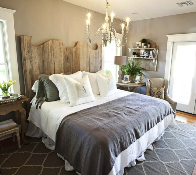 Suzie: FOUND - Kristin Alber - Gorgeous cottage bedroom with taupe walls paint color, French ...