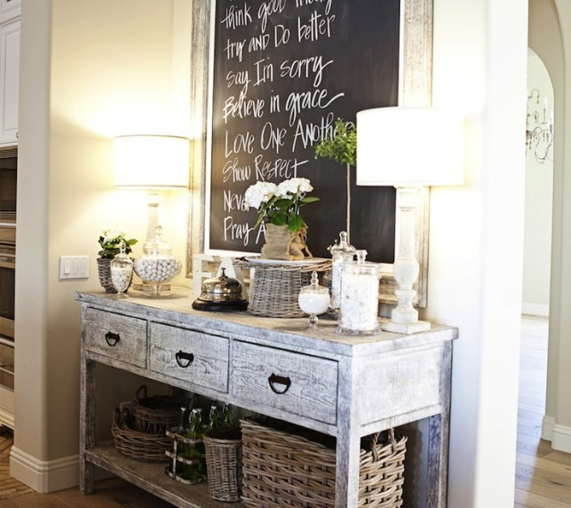 Suzie: FOUND - Gray washed buffet console table, framed chalkboard, woven baskets and alabaster ...