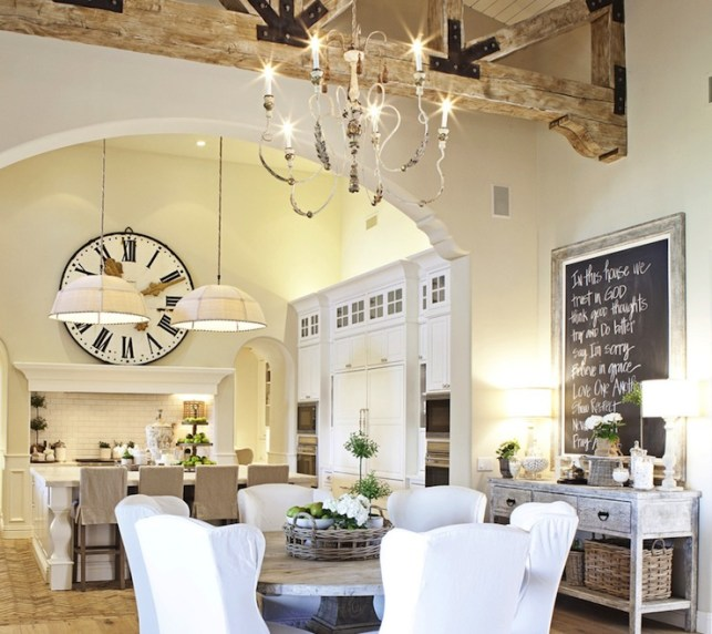 Suzie: FOUND - French dining room with vaulted ceiling, rustic wood beams, gray washed buffet ...
