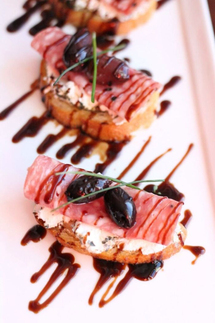 Salami & Herbed Goat Cheese Crostini