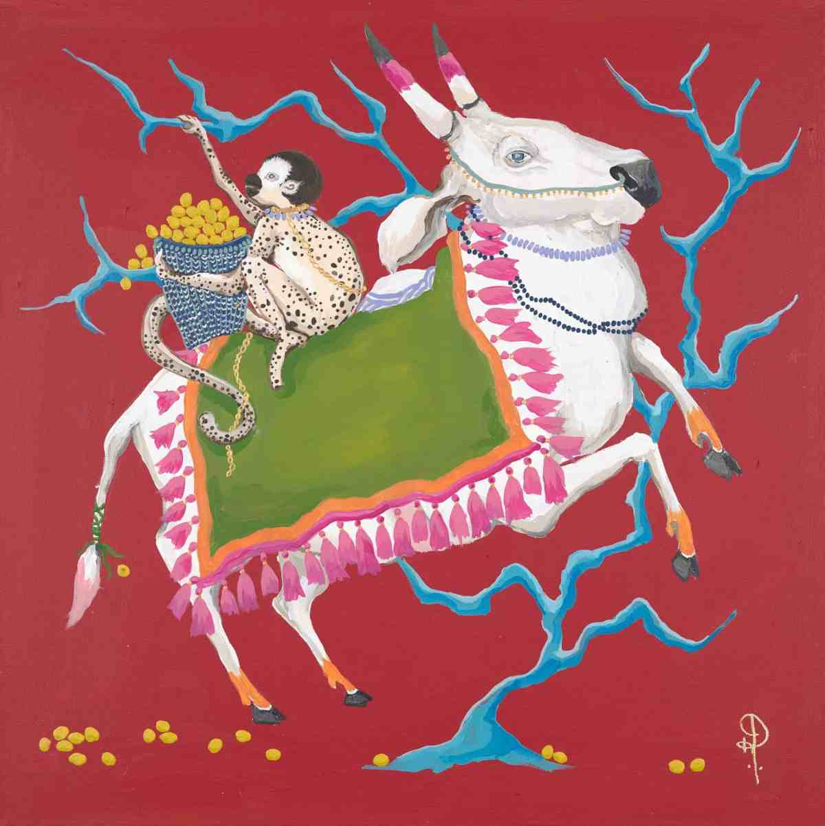 ART PRINT Holy Cow on Red with Monkey Right Facing