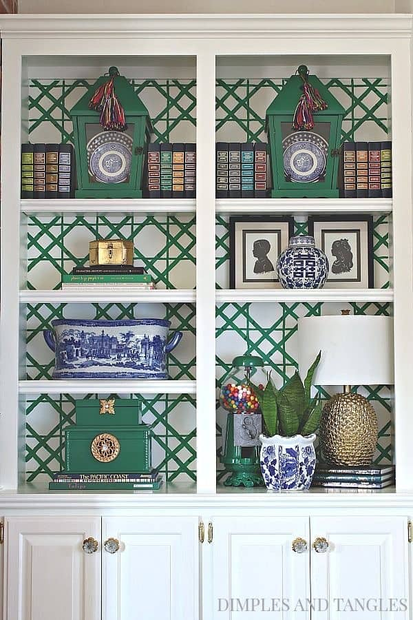 Chinoiserie Bookcase Styling Ideas