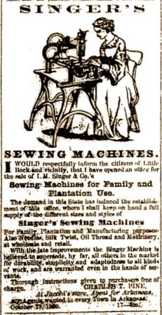 Anuncio en la Arkansas Weekly Gazette en 1860
