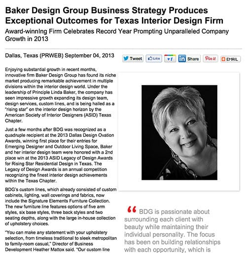 Press Release Baker Design Group Business Strategy Produces Exceptional Outcomes For Texas