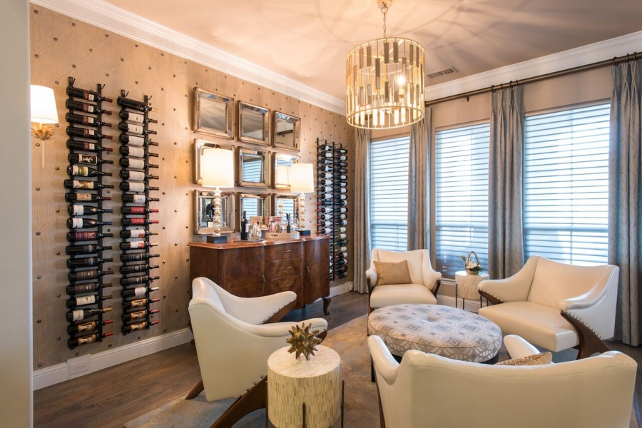 seating entry wine room interior design frisco