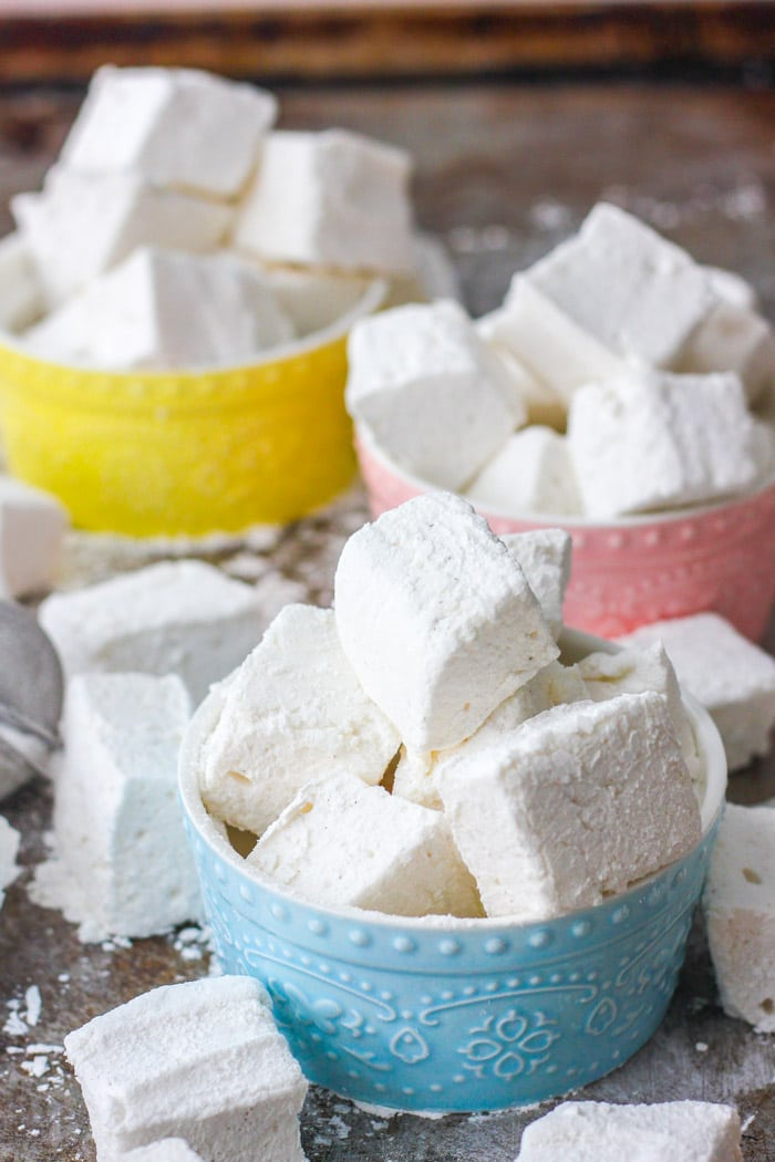 Fluffy homemade marshmallows in various bowls