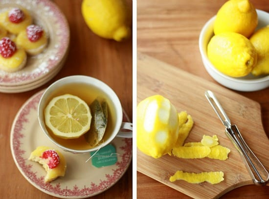 Left side is a cup of tea and cookies on a plate, right side is a lemon being zested on a cutting board