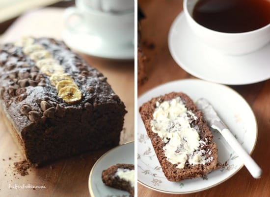 Dark Chocolate Banana Bread loaf on left side photo, a slice of bread buttered with a knife on right side