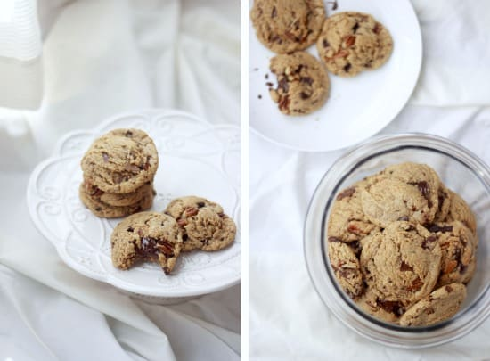 Left photo is Dark Chocolate and Toasted Pecan Cookies on a plate, right side photo is the cookies in a clear jar