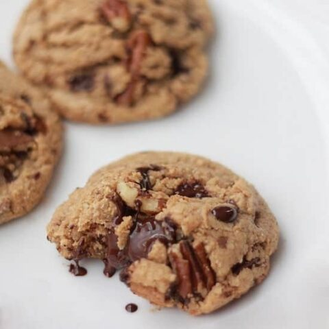 Dark Chocolate and Toasted Pecan Cookies on a plate