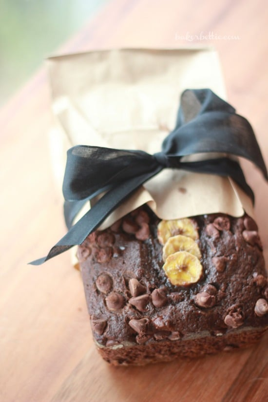 Dark Chocolate Banana Bread with Cayenne wrapped in paper
