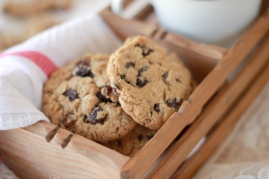 Oatmeal Spiced Rum Raisin Cookies in a basket