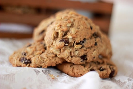 Upclose view of Oatmeal Spiced Rum Raisin Cookies