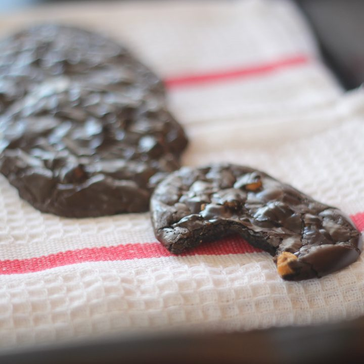 Flourless Dark Chocolate Espresso Cookies with Butterscotch Chips