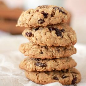 Oatmeal and Spiced Rum Raisin Cookies stacked on top of each other