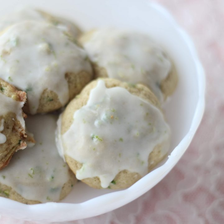 Zucchini and Jalapeno Cookies with Sweet Lime Glaze in a candy dish