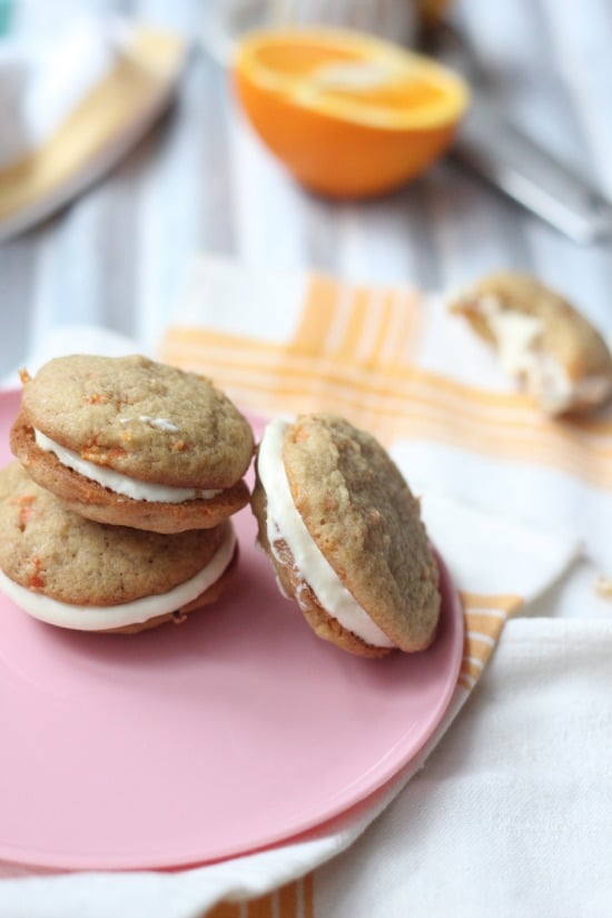 Upclose view of Carrot Cake Whoopie Pies on a plate