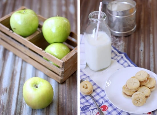 Left side photo are green apples in a basket, right side photo is Mini Apple Pie Sandwich Cookies on a plate with a glass of milk