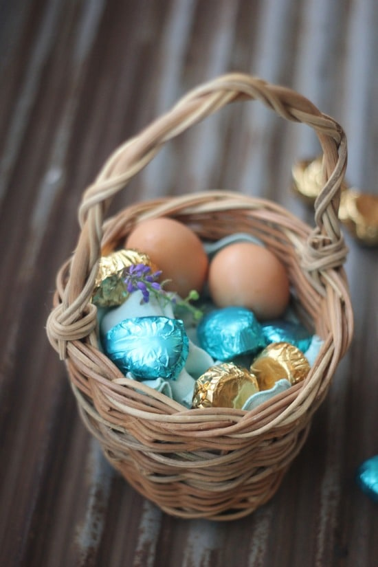 Homemade Dark Chocolate Easter Candy in an Easter basket
