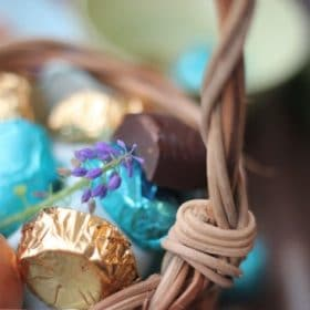 Homemade Easter Candy wrapped in foil in Easter basket