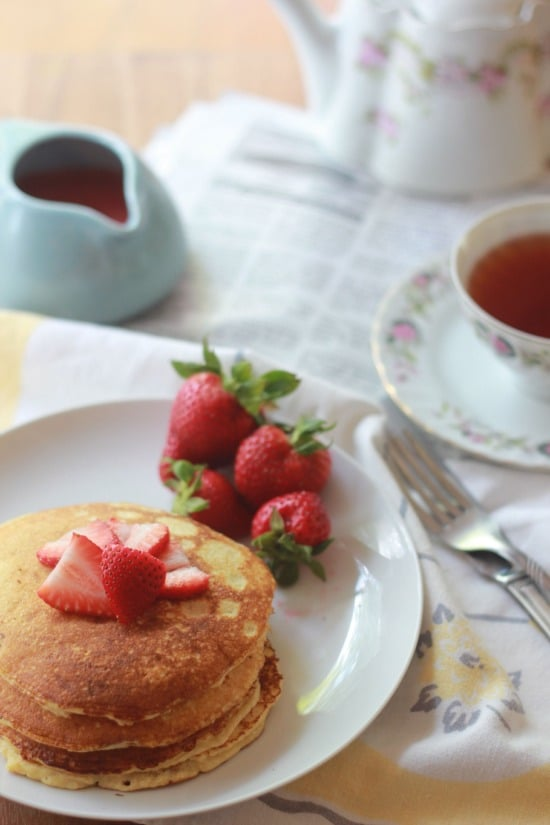Grain Free Strawberry Shortcake Pancakes (paleo friendly)