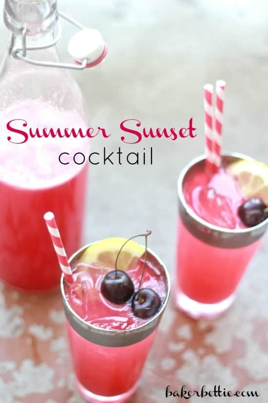 """Pink drink in tall glasses with text """"Summer Sunset Cocktail"""""""
