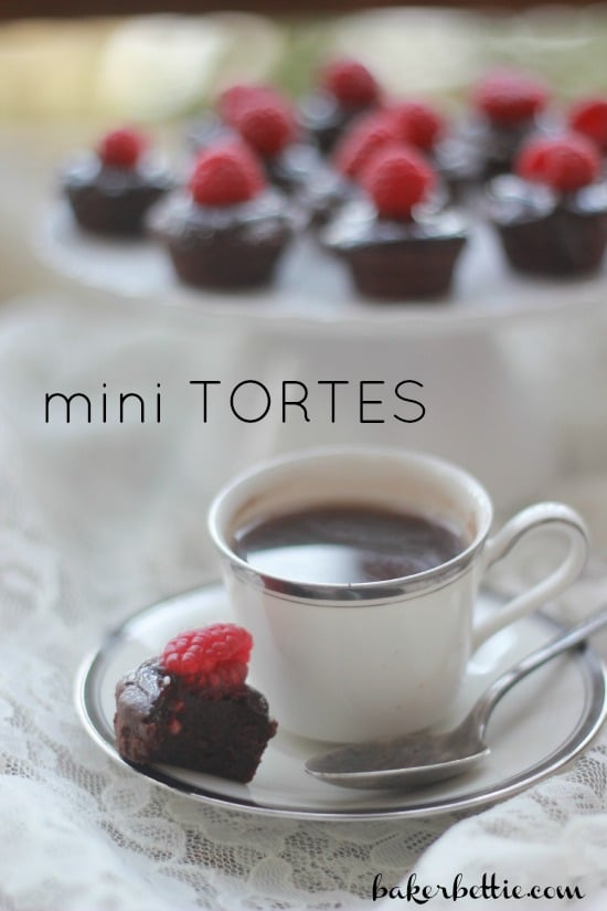 """Mini Flourless Chocolate Torte with a raspberry on top beside a cup of coffee and the text """"Mini Tortes"""""""