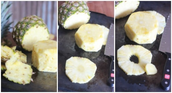 Collage of photos: left is pineapple without skin, middle is pineapple slices, right is cored pineapple