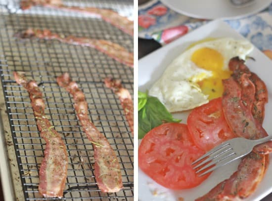 Left side photo: cooked bacon on wire rack, right side photo: bacon on plate with fried egg and tomato slices